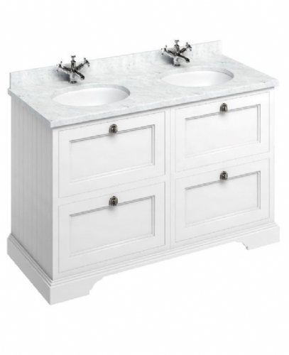 Burlington 1300 Vanity Unit With Drawers, Double Bowl 4 Drawer - Various Colours